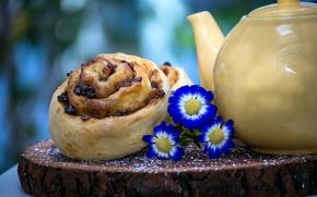 Картинка цветы, чайник, булочка