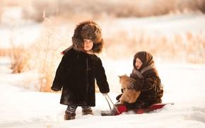 Картинка зима, кот, снег, шапка, мальчик, девочка