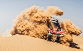 Обои Песок, Авто, Спорт, Машина, Гонка, Peugeot, Фары, Red Bull, Rally, Dakar, Дакар, Внедорожник, Ралли, Sport, ...