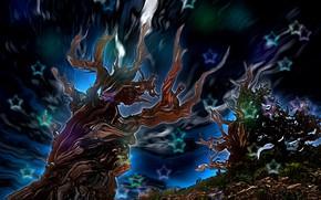 Обои звезды, фантазия-арт, небо, свечение, абстракция, корявые деревья, рендеринг, сказочная ночь