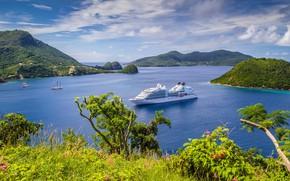 Картинка море, зелень, небо, трава, солнце, облака, горы, побережье, Франция, яхты, панорама, залив, лайнер, кусты, Guadeloupe