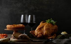 Картинка вино, курица, бокалы, пирог
