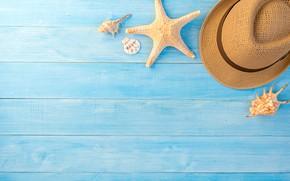 Картинка лето, фон, звезда, шляпа, ракушки, summer, beach, wood, blue, marine, starfish, composition, seashells