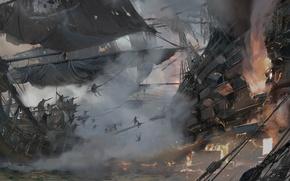 Картинка game, pirate, war, fight, pirate ship, ship, kaizoku, Skull and Bones