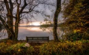 Обои озёрный край, скамья, Камбрия, осень, Англия
