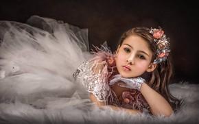 Картинка взгляд, цветы, лицо, стиль, платье, девочка, перчатки