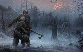 Картинка axe, game, Sony, Kratos, God of War, snow, knife, Loki, god, god slayer, Atreus