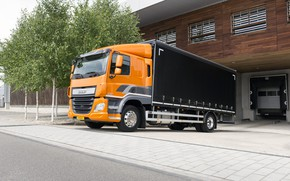 Картинка деревья, оранжевый, склад, тротуар, кузов, DAF, ДАФ, бортовая платформа, 4х2, Euro6, DAF CF 310 FA