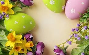 Картинка цветы, Пасха, яйца крашенные, wood, spring, Easter, eggs, decoration, Happy