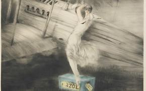 Картинка биплан, 1925, Louis Icart, арт-деко, офорт и акватинта, Перед полетом