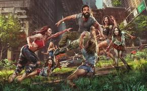 Картинка город, девушки, мужик, зомби, нападение, Jude Smith, девушки-зомби, Save Dan