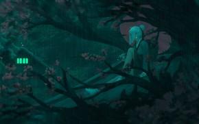 Картинка девушка, ночь, ветки, зонт, Япония, сакура, art, свет в окне, на крыше, деревянный дом, Guweiz