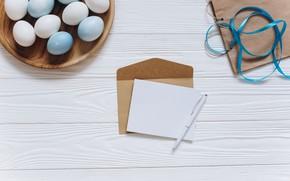 Картинка письмо, яйца, пасха, лента, Праздник, конверт