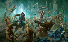 Картинка chaos, eldar, battle, demons, Warhammer 40 000, Death Guard, Nurgle, chaos space marines, harlequins