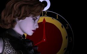Обои часы, чёрный фон, девушка, профиль, портрет