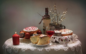 Картинка вино, свеча, Пасха, кулич, верба, крашенки