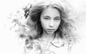 Картинка листья, портрет, девочка, чб фото, Пилтник