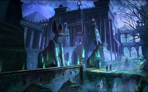 Картинка ночь, мост, люди, замок, пирамиды, tomb