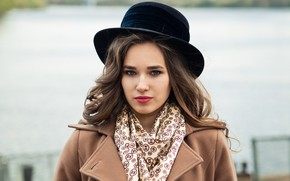 Картинка city, girl, fashion, young, blue, model, street, pretty, mood, coat, spring, look, wind, cute, town, …