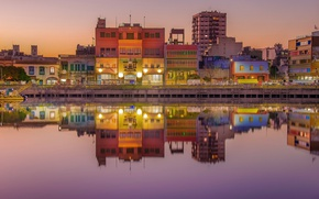 Картинка lights, colorful, twilight, sunset, Argentina, dusk, reflection, mirror, Buenos Aires, Río de la Plata