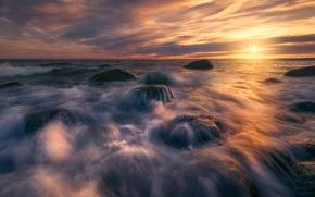 Картинка море, волны, солнце
