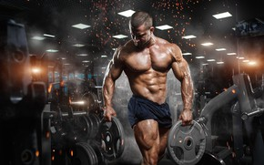 Обои мышцы, muscle, бодибилдинг, abs, Gym, fitness, bodybuilder, спорт зал, barbell, тренировка, gym, пресс, бодибилдер, атлет, ...