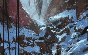 Картинка снег, горы, охотники, Tribe
