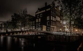 Картинка ночь, мост, огни, дом, Амстердам, канал, Нидерланды