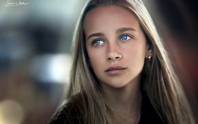Обои girl, long hair, photo, photographer, blue eyes, model, lips, face, blonde, portrait, mouth, close up, ...