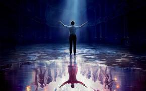 Картинка вода, отражение, мужчина, зал, постер, драма, луч света, мюзикл, Величайший шоумен, The Greatest Showman