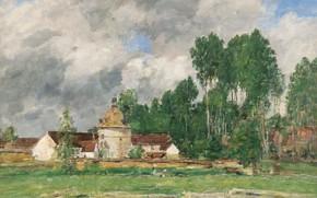 Картинка Эжен Буден, картина, Eugene Boudin, облака, деревья, Шартр, пейзаж
