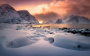 Картинка зима, облака, свет, горы, Норвегия, север, фьорд