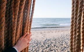 Картинка песок, море, волны, пляж, sea
