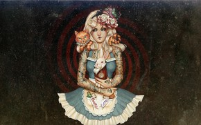Картинка painting, artwork, illustration, Alice-in-Wonderland