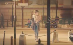 Картинка девушка, улица, аниме, Цепь, продукты
