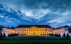 Картинка парк, газон, вечер, Германия, Берлин, дворец Бельвю, официальная резиденция президента Германии