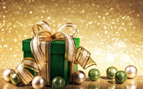 Обои bokeh, christmas, xmas, decoration, Рождество, balls, gift, golden, подарок, merry christmas, Новый Год, шарики