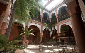 Картинка пальмы, стол, стулья, двор, Moroccan Courtyard