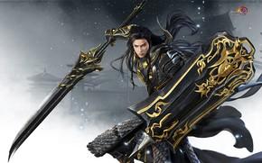 Картинка игра, меч, воин, 暮 山 飞 雀 °, Джиан Ванг, Тибетский меч