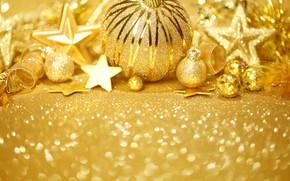 Картинка ленты, шары, новый год, украшение, звездочки, декор