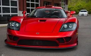 Картинка красный, дизайн, фары, спорткар, передок, Twin Turbo, Saleen S7, ручной сборки