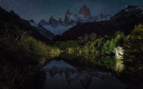 Картинка небо, звезды, свет, отражения, горы, ночь, озеро, Патагония
