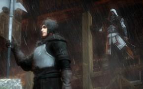 Картинка рендеринг, дождь, капюшон, Assassin's Creed, ezio, Ezio Auditore da Firenze
