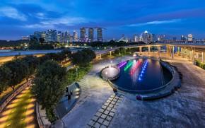 Картинка ночь, город, бассейн, Сингапур, Singapore