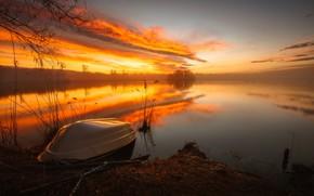Обои природа, закат, лодка, озеро
