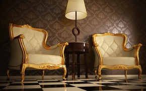 Картинка comfort, floor with square mosaics, light wooden table, quality leather, Armchairs with ornaments, painted gold ...