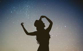 Картинка небо, звезды, ночь, силуэт