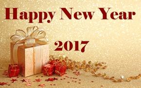 Обои позолота, 2017, новый год, коробки, золотой, украшения, новый 2017 год, фон, с новым годом, надпись, ...