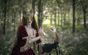 Обои девушка, сова, маска