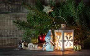 Картинка новый год, ель, фонарик, декор